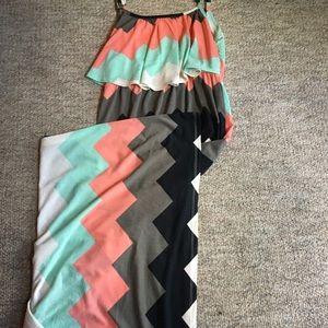 Multicolored Chevron Maxidress